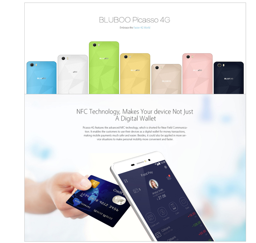 Bluboo picasso 4G con NFC